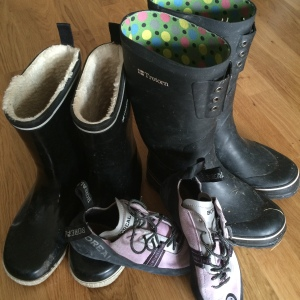 Gumboots and climbing shoes