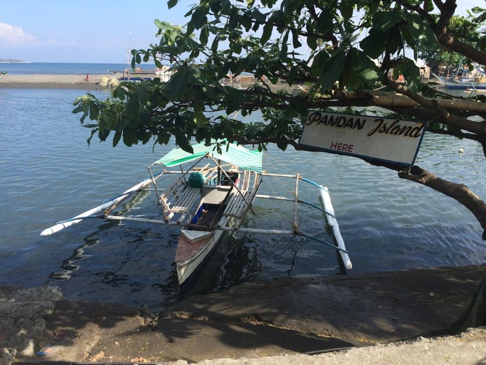 Pump boat to Pandan Island