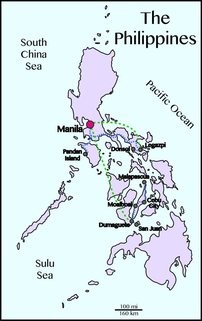 Philippines map travel path budget