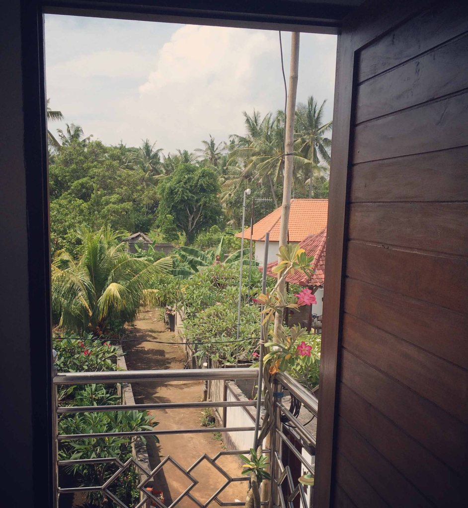 The view from the entrance to my room, looking back out onto the street behind the home stay.