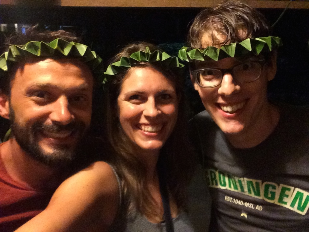 Me and the boys on St Patrick's day - the guesthouse owner made crowns for us.