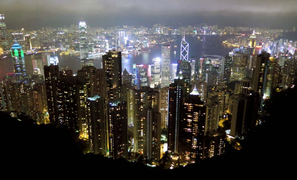 Hong Kong Night skyline Victoria Peak