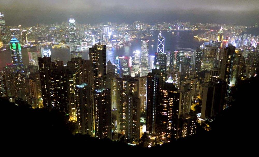 Hong Kong Night skyline Victoria Peak