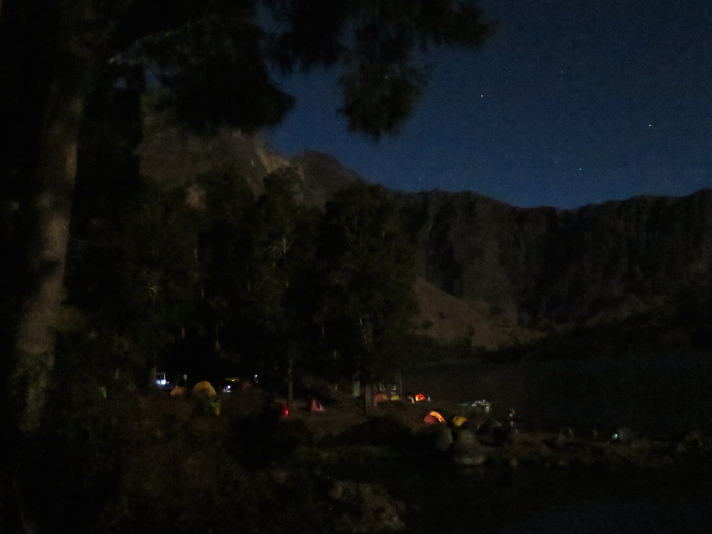 Night time crater campsite