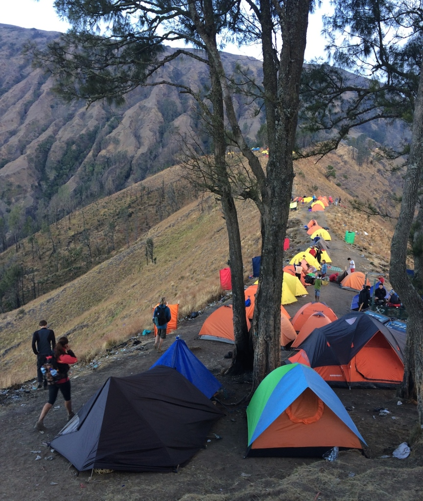 Lego tents on the crater rim Rinjani