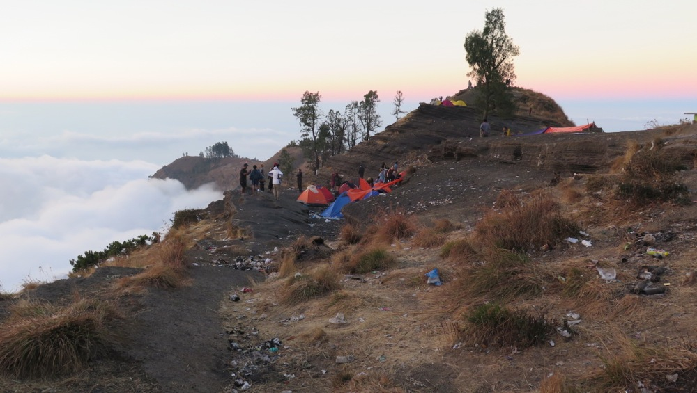 Crater rim camp site Mt Rinjani